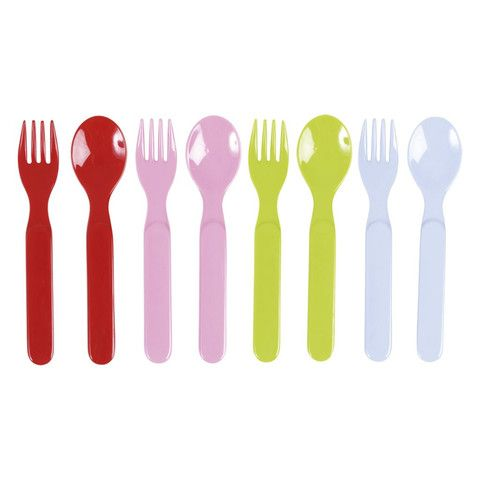 RICE MELAMINE BABY SPPON AND FORK - VARIOUS COLOURS – Desmond Elephant