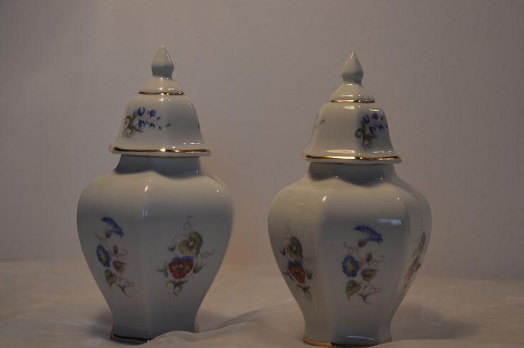 Hollóháza Vintage Porcelain 2 pieces of lidded vase by KrisztinaVintage on Etsy