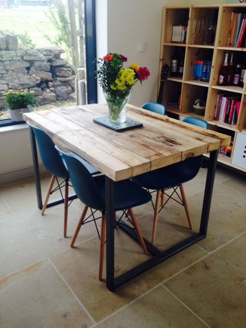 reclaimed industrial chic seater solid wood and metal dining table cafe bar restaurant furniture steel and wood made to measure 247