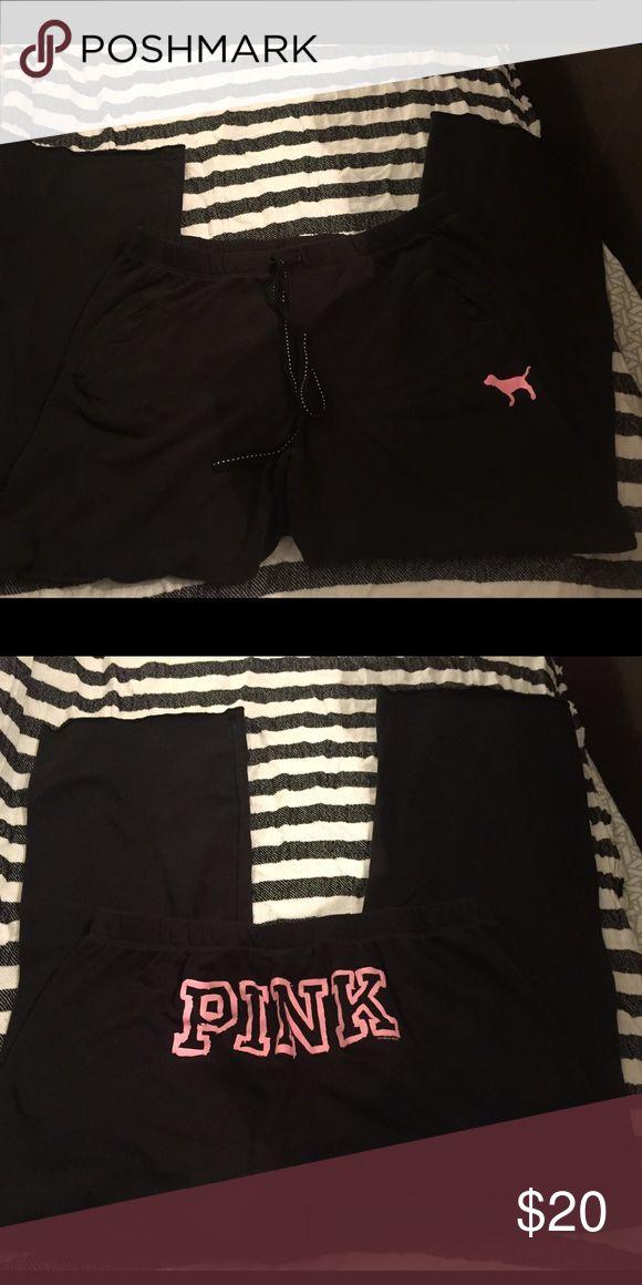 Vs pink boyfriend sweatpants Black boyfriend sweatpants, size Large, worn twice PINK Victoria's Secret Pants Track Pants & Joggers