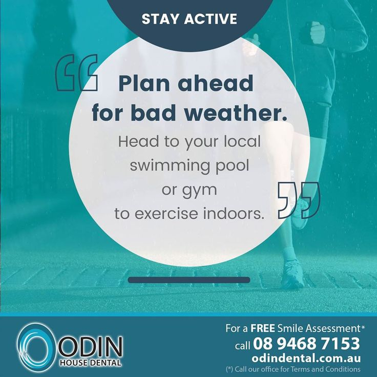 #HealthyTip — STAY ACTIVE - Plan ahead for bad weather. Head to your local swimming pool or gym to exercise indoors. / For a Free Smile Assessment*, please call 08 9468 7153 - www.OdinDental.com.au / (*) Please call our office for Terms & Conditions. #SmileDocs #SmileDeals #practice #confidence #cosmetic #job #tmj #dentistry #services #implant #invisalign #zoomwhitening #dental #filler #preventive #dentist #oral #cosmetic #teeth #smile #innaloo — at Odin House Dental Surgery.