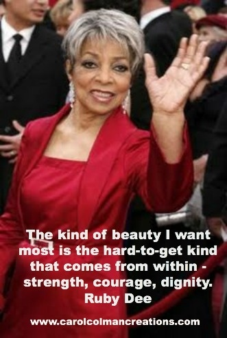 For #blackhistorymonth, words of wisdom about beauty from the great, beautiful Ruby Dee.