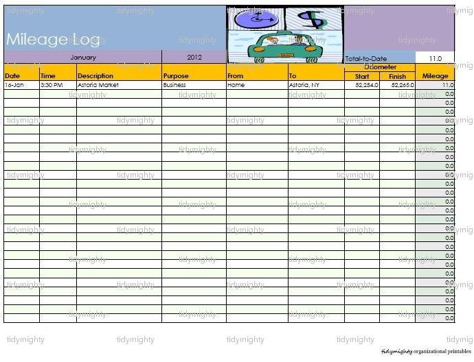 Mileage Log Form Medical Mileage Log Form To Download Sample