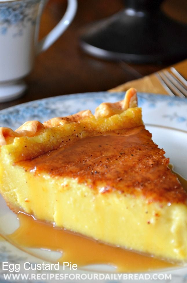 Egg Custard Pie Recipe - It has all the ingredients of a Creme Brulee. It taste similar but a little thicker. The perfect pie for the holidays! http://recipesforourdailybread.com/2013/11/20/southern-egg-custard-pie-recipe/ #pie #thanksgiving