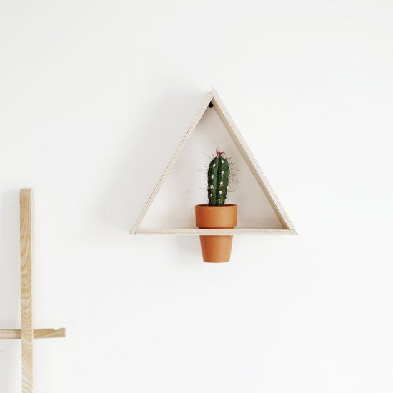 Display your favorite cactus out of reach of little hands with this simple triangle wall planter!