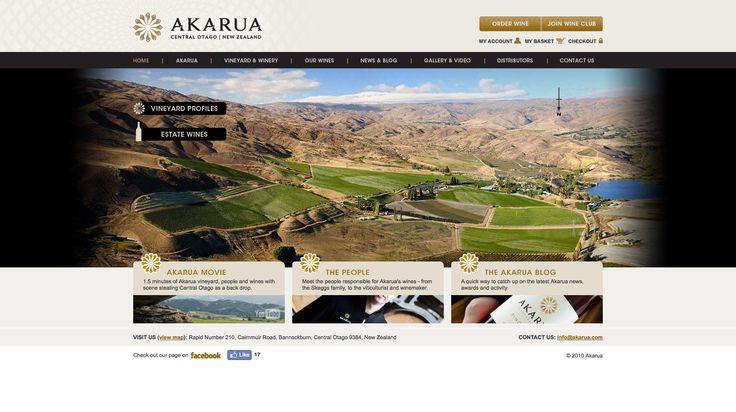 Website design & development for Central Otago winery, Akarua. Featuring online shop. http://www.akarua.com