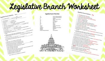 Legislative Branch- Congress Worksheet | Branches, Keys and Words