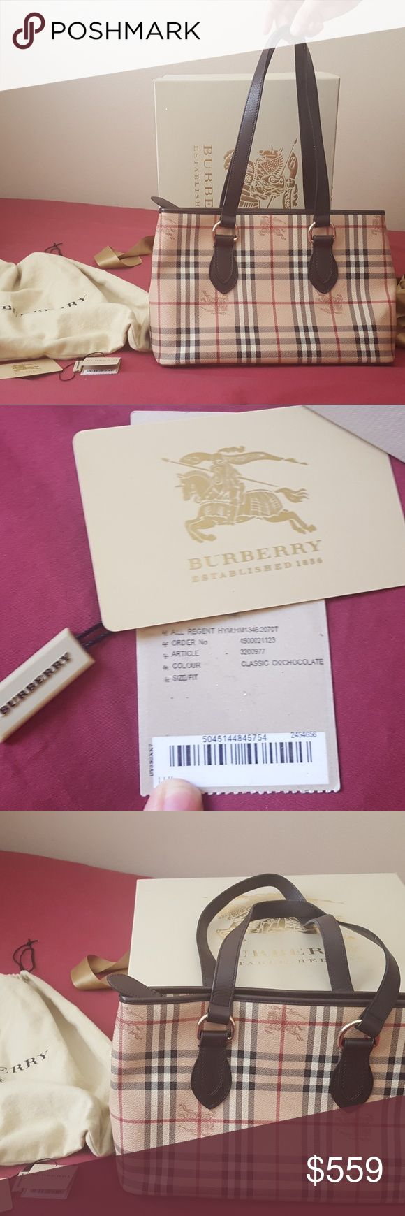 "Authentic Burberry Haymarket check regent tote Authentic Burberry Regent Tote, it's in VERY GOOD preloved condition, no rip, no tear, some rub on the corners & trim, nothing big, just minor things.Inside & pockets are good, comes with everything,  box, dust bag, tags,  card, ribbon. Made in Italy, zipper smooth. The big box does has a tear on the side.  It was purchased from South Coast mall. 9 1/4""H X 13 3/4""W X 5""D.   I'll record & take pic at the post office during shipping Burberry Bags…"