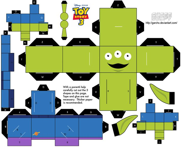 Cubeecraft Templates Papercraft Alien Toy Story