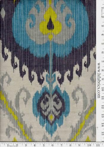 Peacock Blue Grey Yellow And Ivory Ikat Curtain By Stitchandbrush For The Home