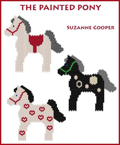 THE PAINTED PONY contains patterns and instructions for making three darling beaded ponies. You can easily make a pony using your own design too. Use the pony for a pin or necklace. Instructions are given for making the stand-alone ponies. Make one or make a big herd of ponies!