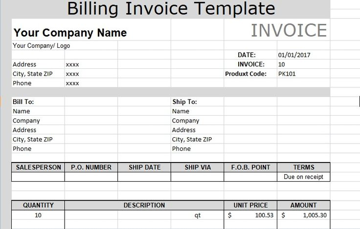 7 best Free Invoice Templates images on Pinterest Invoice - company invoice template