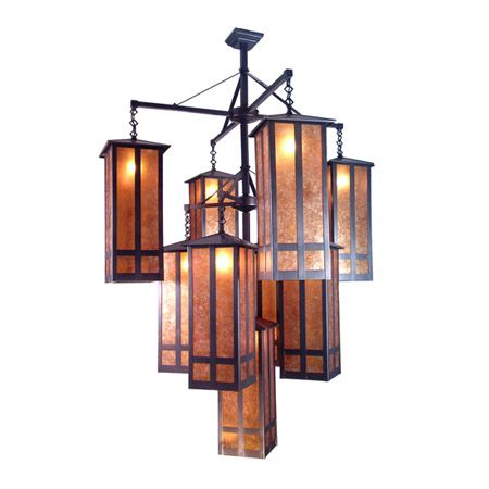 Beautiful, impressive nine light craftsman chandelier with mica panels.