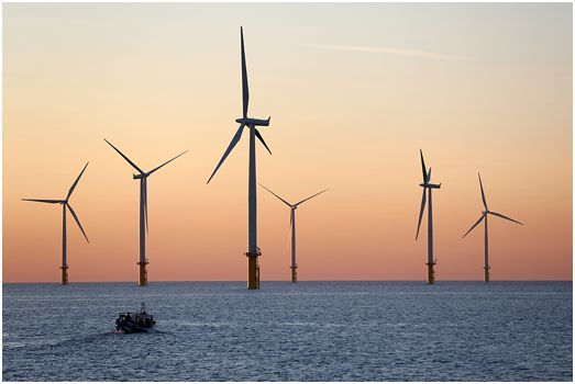 Construction & Industrial North East Photographer: Wind Turbines on the North Sea near Redcar, Teesside.