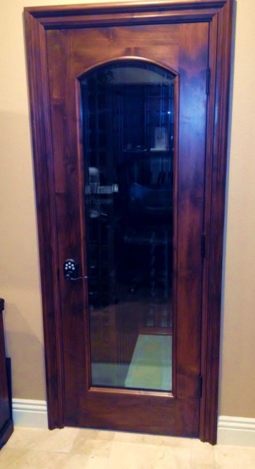Barolo Arched Beveled Glass Inset Wine Cellar Door