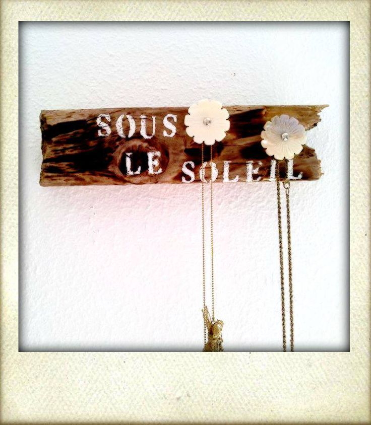 "Hand made wooden necklace hanger ""Sous le soleil"" with 2 handles  20 e"