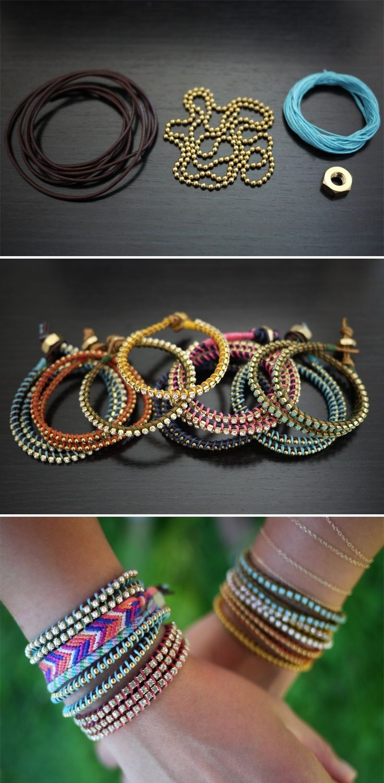 17 Interesting And Popular DIY Ideas, Gleaming bracelets that hug the wrist