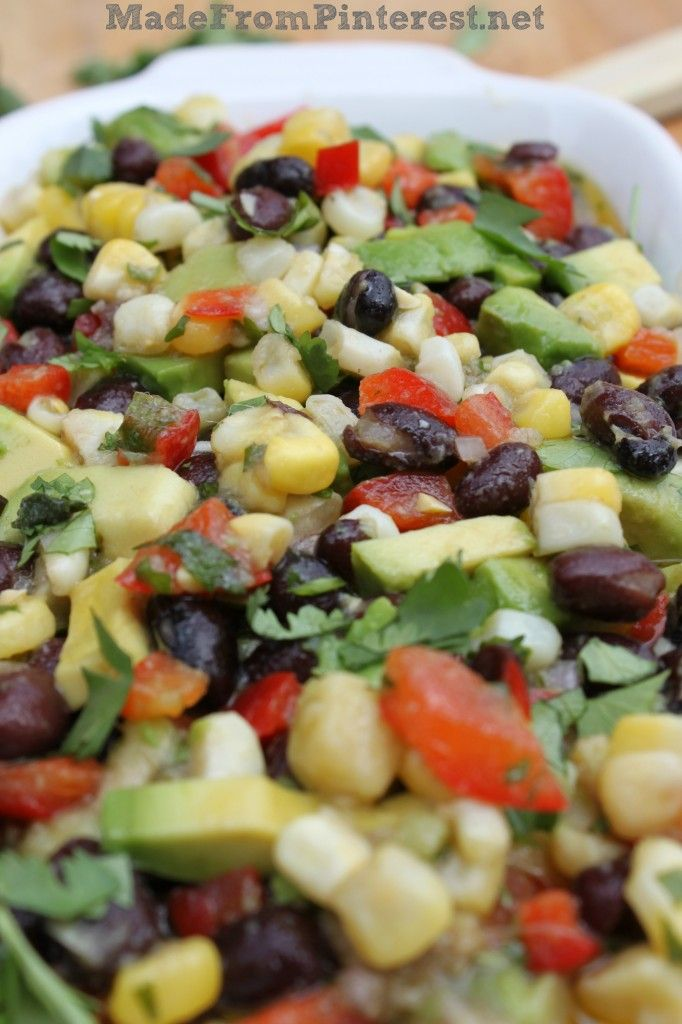 Corn and Black Bean Salsa with Lime Cilantro Vinaigrette. Bring a copy of the recipe to the potluck with you for this one! They are going to ask you for it. Print you copy at MadeFromPinterest.net