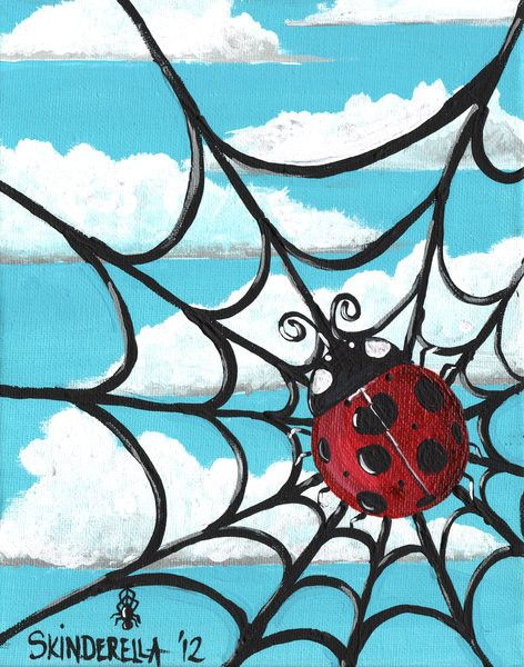 At Least Its A Nice Day by Skinderella Ladybug in Web Canvas Art Print