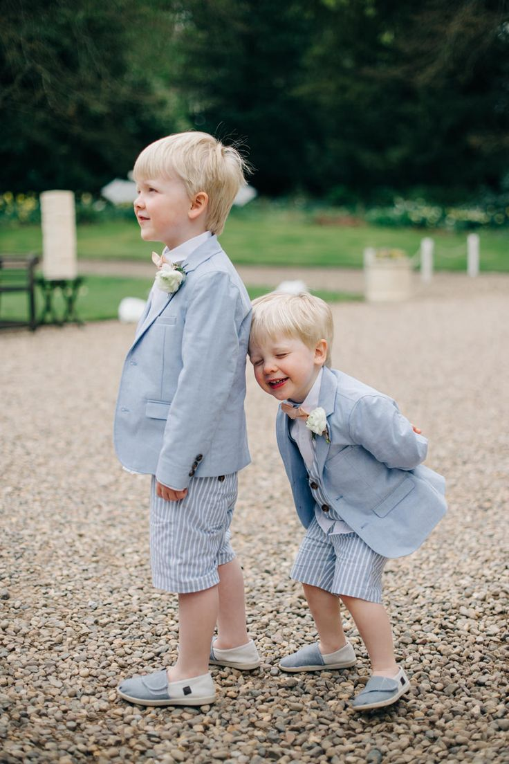 Page Boys in Pale Blue striped shorts, Blazers & Bow Ties | Elegant Wedding At Eshott Hall Northumberland | Blush Pink Peach Colour Scheme | Groom In Pale Pink Suit By Paul Smith | Images by M&J Photos | Film by Clark and Palmer Wedding Films | http://www.rockmywedding.co.uk/tessa-george-2/