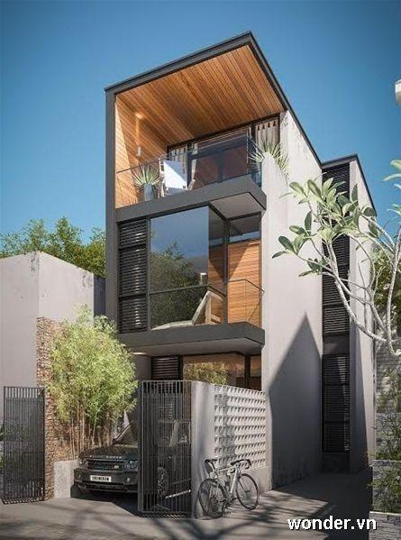 Modernes, schmales Hausdesign