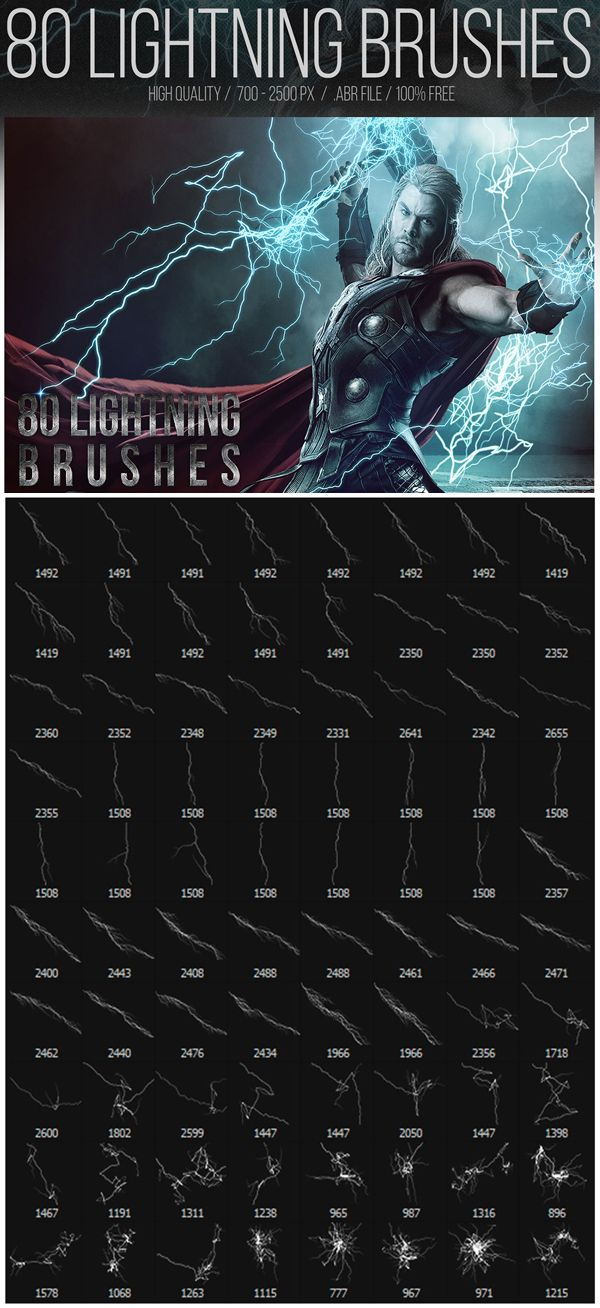 Free Lightning Photoshop Brushes (80 Brushes)