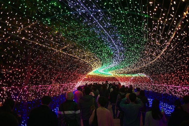 Japan's Spectacular Tunnel of Lights -  Winter Illuminations at Nabana no Sato, a botanical garden turned light theme park on the island of Nagashima in Kuwana. Photo credit: Tairoy