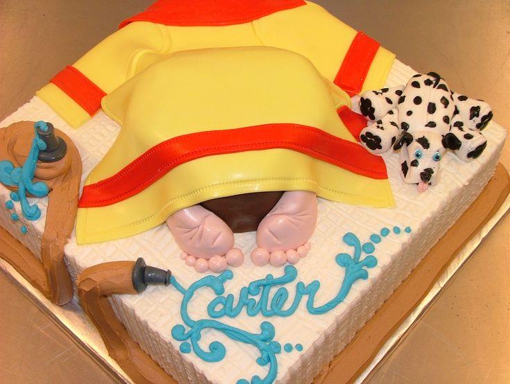 Firefighter Baby Shower Cake - Buttercream and fondant.