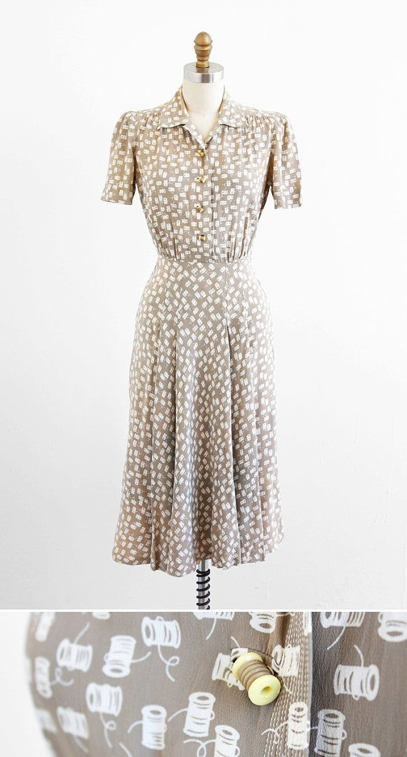 vintage 1940s thread spools novelty print swing dress | 1930s dress | www.rococovintage.com