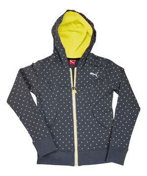 Look at this #zulilyfind! PUMA Gray & Neon Yellow Polka Dot Zip-Up Hoodie - Girls by PUMA #zulilyfinds