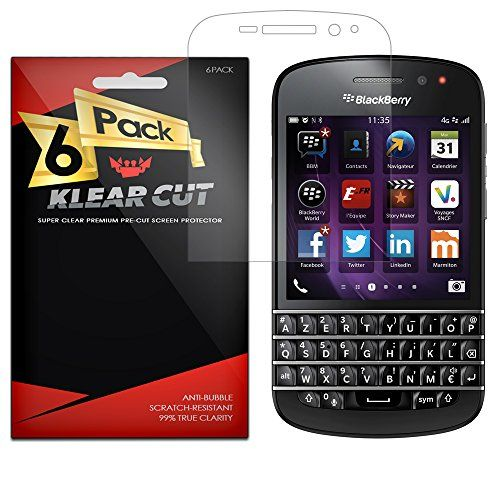 Klear Cut 6 Pack Screen Protector for BlackBerry Q10  Lifetime Replacement Warranty  AntiBubble  AntiFingerprint High Definition HD Clear Premium PET Cover  Retail Packaging *** Read more at the image link.