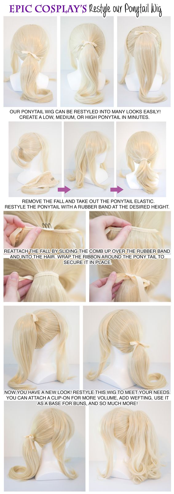 Ponytail tutorial - I really like the look of their wigs, I may have to get this to compare to my Arda