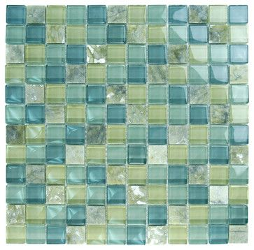 "Olive Glass Stone Blend 1"" x 1"" Green Crystile Blends Glossy Glass and Stone - tile - Glass Tile Oasis"