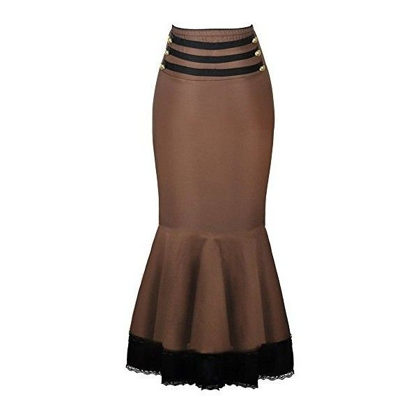 Burvogue Women's Brown Gothic Thin Bodycon Steampunk Corset Skirts:... ($20) ❤ liked on Polyvore featuring skirts, goth skirt, gothic lolita skirt, brown skirt, gothic skirts and steampunk skirt