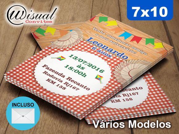 Convite Festa Junina 7x10cm
