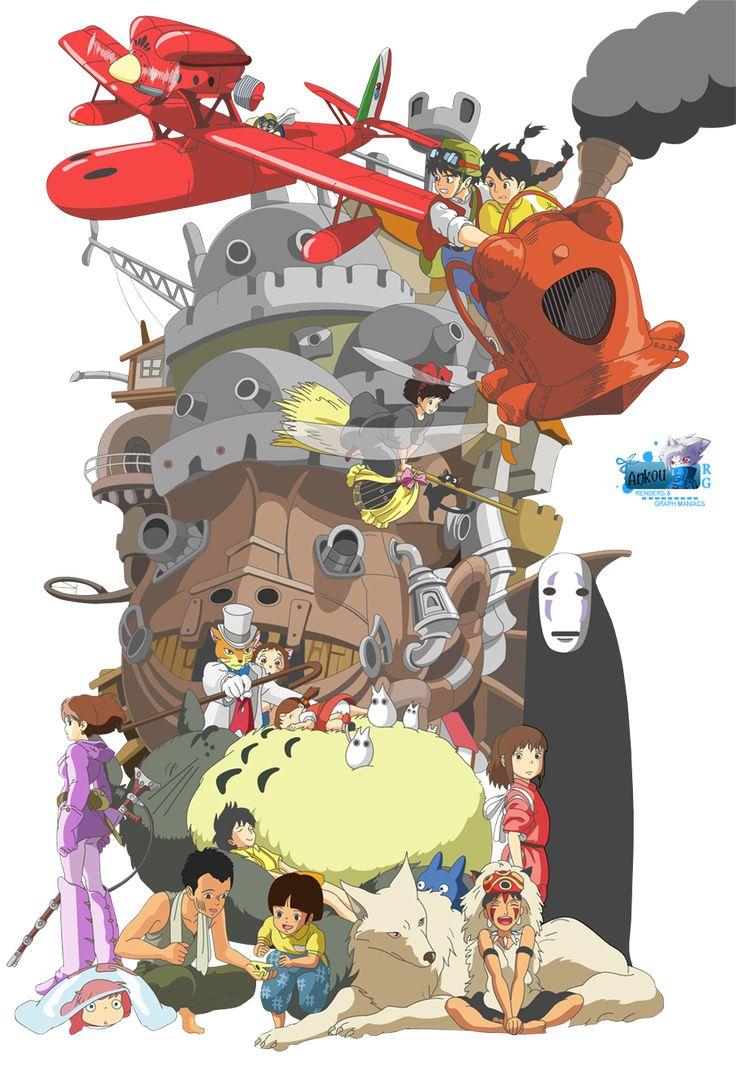 Render Studio Ghibli - Renders Chateau Ambulant Porco Rosso Kiki Petite Sorciere Chateau Dans Ciel Royaume Chats Voisin Totoro Voyage Chihiro Princesse Mononoke Tombeau Lucioles Nausicaa Vallee Vent Ponyo Falaise Studio Ghibli