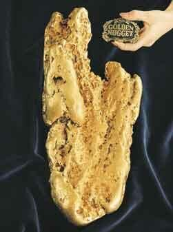 The Hand of Faith is a nugget of fine-quality gold discovered by Kevin Hillier using a metal detector near Wedderburn, Victoria, Australia on  September 26, 1980. Weighing 874.82 troy ounces (27.21 kg, or 72 troy pounds and 10.82 troy ounces), the gold nugget was only 12 inches below the surface, resting in a vertical position. It was sold to the Golden Nugget casino, Las Vegas, Nevada, where it is on public display.