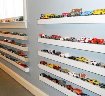 Toy cars and trucks shelves