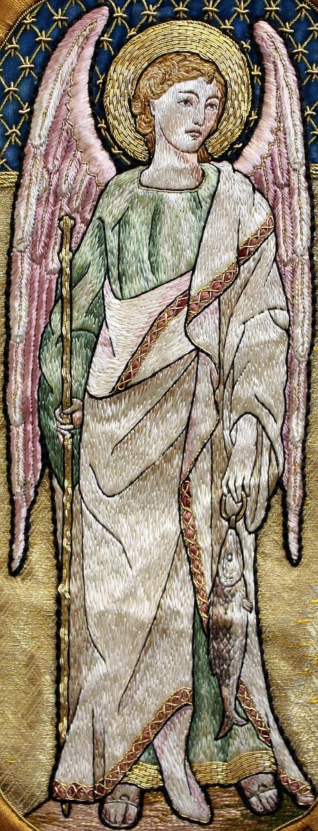 St. Raphael the Archangel, Embroidery on a cope done by the Dominican sisters at Stone, England in the 1860s.