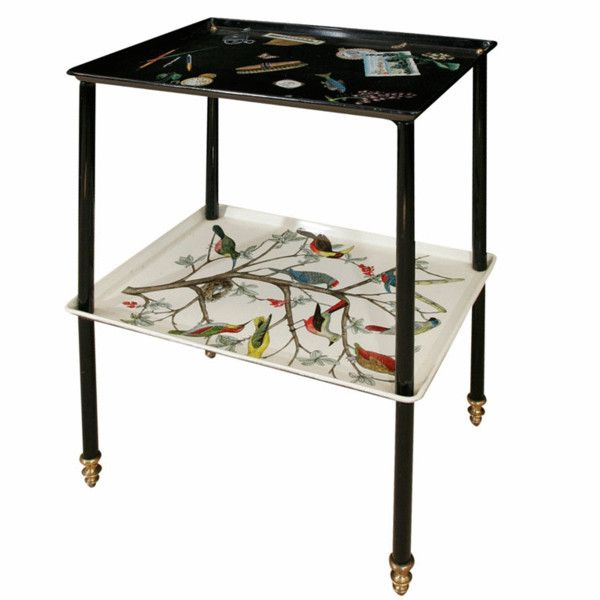 View This Item And Discover Similar Tray Tables For Sale At   A Piero  Fornasetti Etagere. Lithographical Print With Exotic Birds, Postcards,  Pens, ...