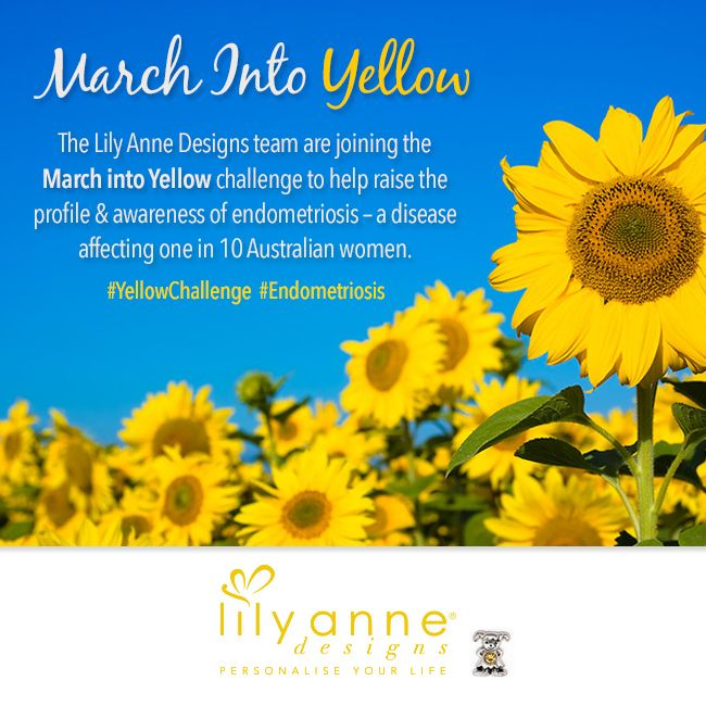 The Lily Anne Designs team are joining the March into Yellow challenge for @endometriosisaustralia to help raise the profile & awareness of endometriosis.   Stay tuned to see pics of the Lily Anne Designs team dressed in yellow later today #YellowChallenge #Endometriosis