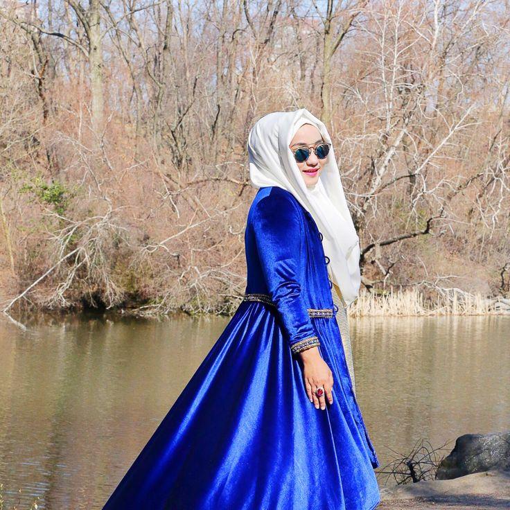 ,  White Blue , Hijab Style