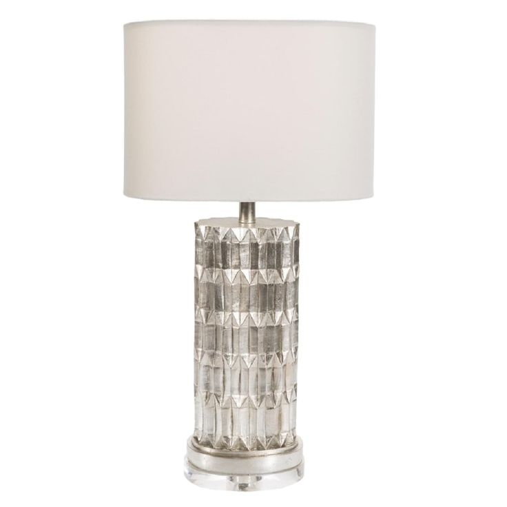 """27.5""""Celestial Harmony White Gold Table Lamp with Facet Look and Oval Moon White Drum Shade, Silver"""