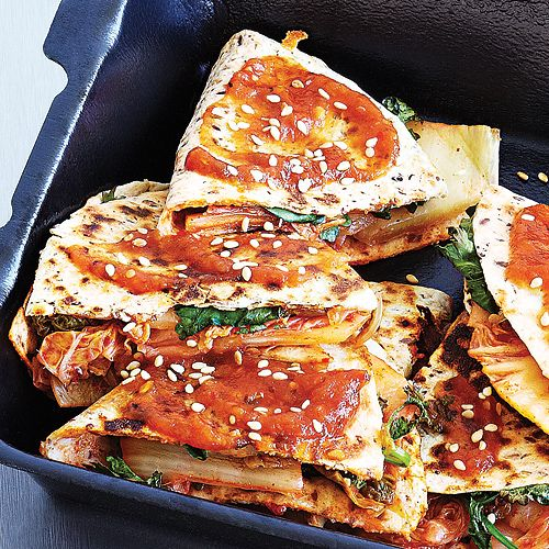 Kimchi Quesadilla with Salsa Roja - Clean Eating - Clean Eating. oh my god!!! have to try this!