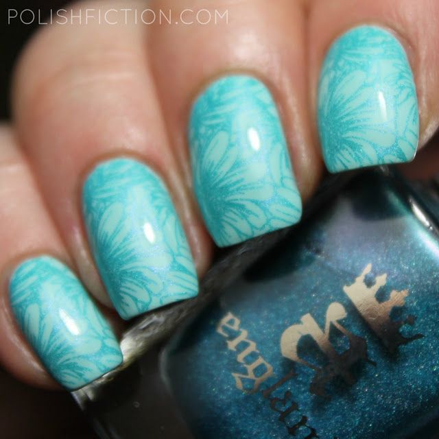 Nail stamping with A England Whispering Waves