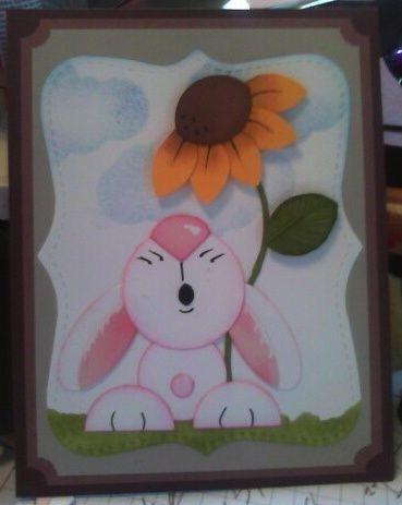 Bunny looking up punch art - bjl