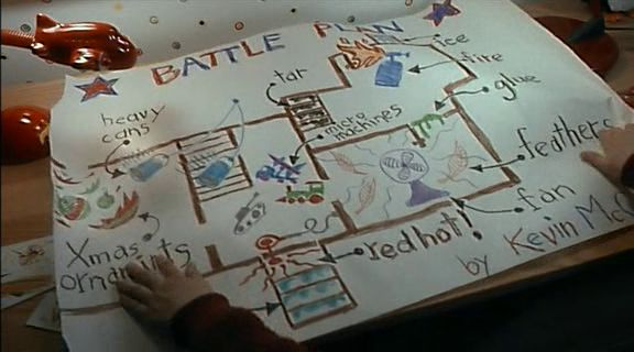 "Kevin McCallister's ""Battle Plan"" from Home Alone (1990) - Imgur the first comment says"" the white house also uses this as their anti-terrorist defense in case of an attack"""