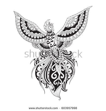 Zendoodle design of Phoenix bird for tattoo, t shirt design, adult coloring and other design element. Stock Vector