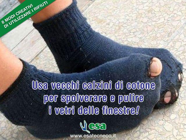 Usa vecchi calzini di cotone per spolverare e pulire i vetri delle finestre e non solo! Ecco modo molto creativo di usare i tuoi calzini preferiti, risparmiare e fare bene all'ambiente. #ambiente #riciclocreativo