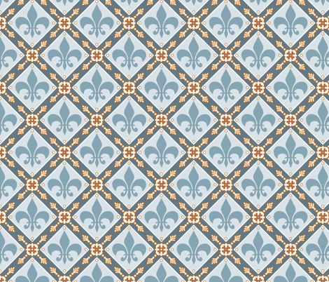 Pale Blue Medieval Repeat fabric by poetryqn on ...